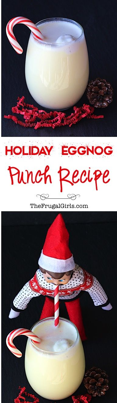 Holiday Eggnog Punch Recipe! ~ from TheFrugalGirls.com ~ Every party deserves a crowd-pleasing punch, and this one is sure to be the festive star of your Thanksgiving Feasts and Christmas Parties! Just 3 ingredients and crazy delicious!! #punches #recipes #thefrugalgirls