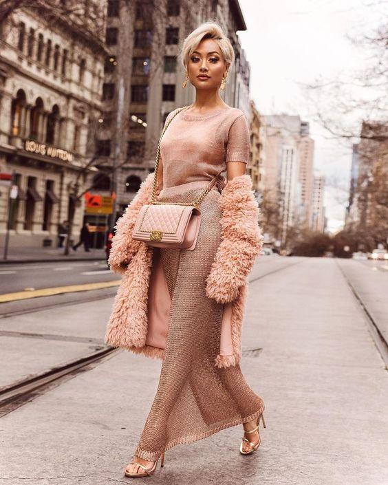 Beautiful pink winter look