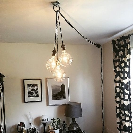 Unique plafond unique clairage lustre plug in modern for Cache lustre au plafond