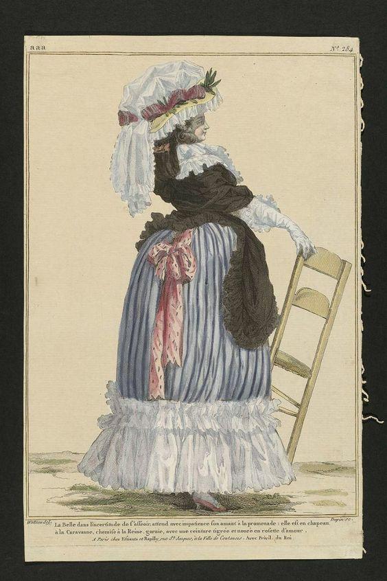 1785 la belle dans l 39 incertitude de l 39 asseior attend avec impatience son amant la promenade. Black Bedroom Furniture Sets. Home Design Ideas