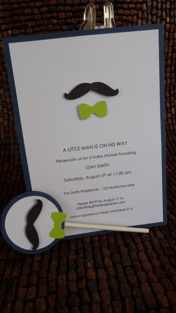 mustache and bow tie baby shower invitation by inkglittlerandpaper 1