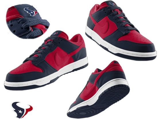 Nike Houston Texans red blue Dunk Shoes | My texans | Pinterest ...