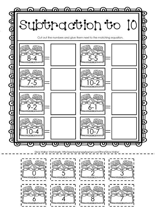 math worksheet : free subtraction worksheet! cut and paste subtract to 10!  my  : Subtraction Worksheets Kindergarten Free