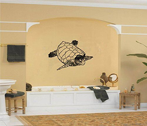 Ocean Sea Turtle Vinyl Wall Decal Sticker Graphic Measures  X - Vinyl wall decals application instructions