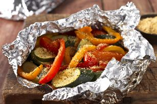 Foil-Packet Hearty Tuscan Parmesan Grilled Veggies recipe