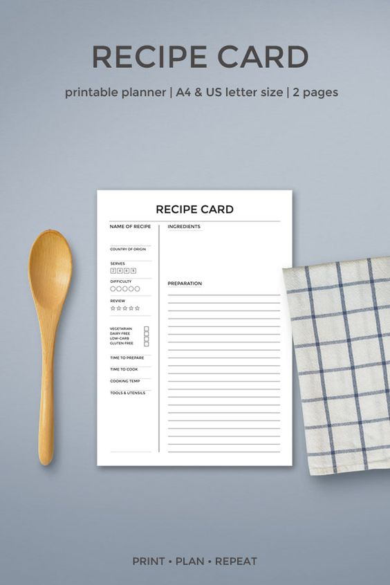 Create your own printable cookbook or recipe binder and take control of the kitchen with these recipe card printables.