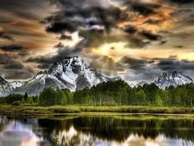 Dramatic Skies National Parks: Grand Teton Lakes Mountains North America