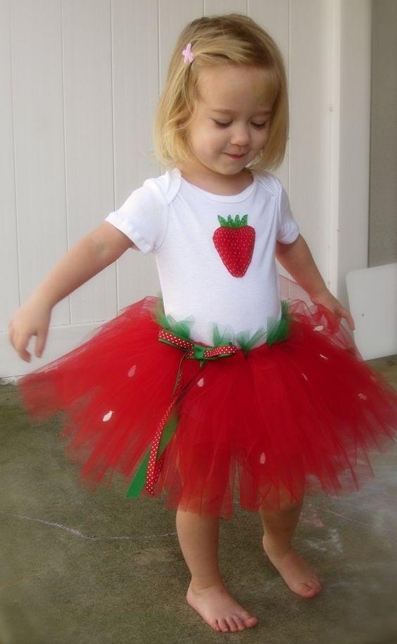 A cute strawberry tutu birthday outfit: