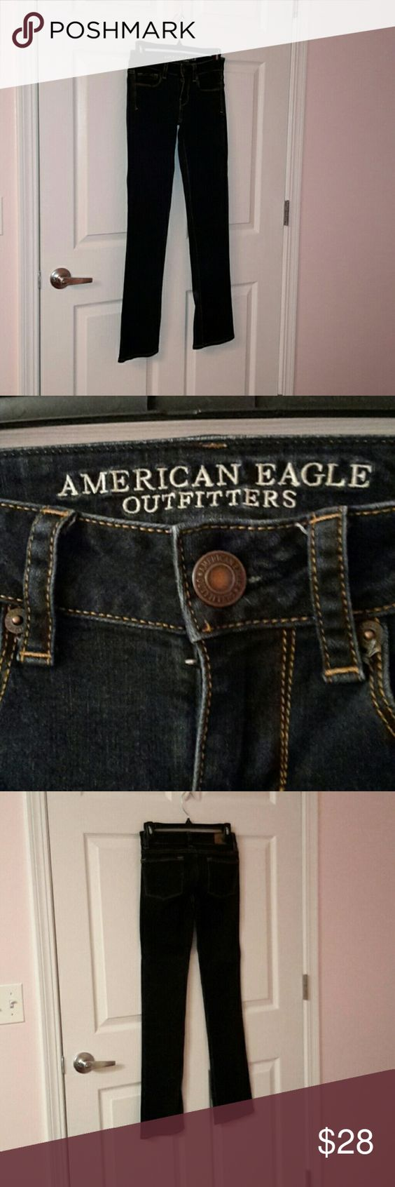 Dark wash straight jeans Dark wash straight jeans . Worn only a handful of times American Eagle Outfitters Pants