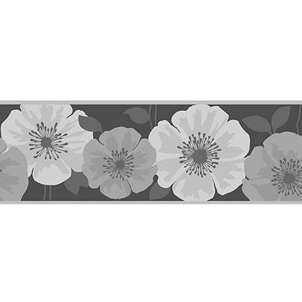 Poppy Black and Silver Peel and Stick Wall Border Wall