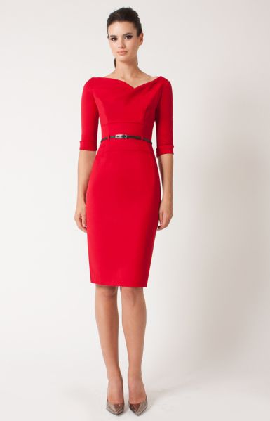 3/4 Sleeve Jackie O&-39- Red Dress with Thing Black Belt ...