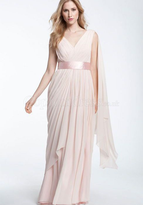 vintage v-neck zipper back with ruffles pink long evening Dress - 169.99 and comes in fuschia!