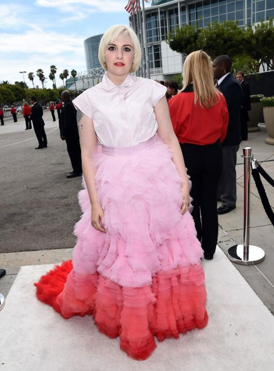 Lena Dunham in Giambattista Valli Couture at the 2014 Emmys