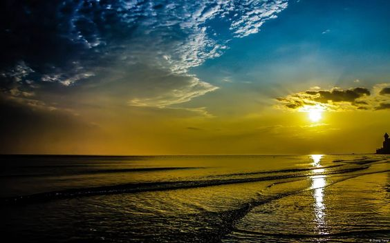 Lighthouse Beach Sunrise Wide Full Screen Wallpaper
