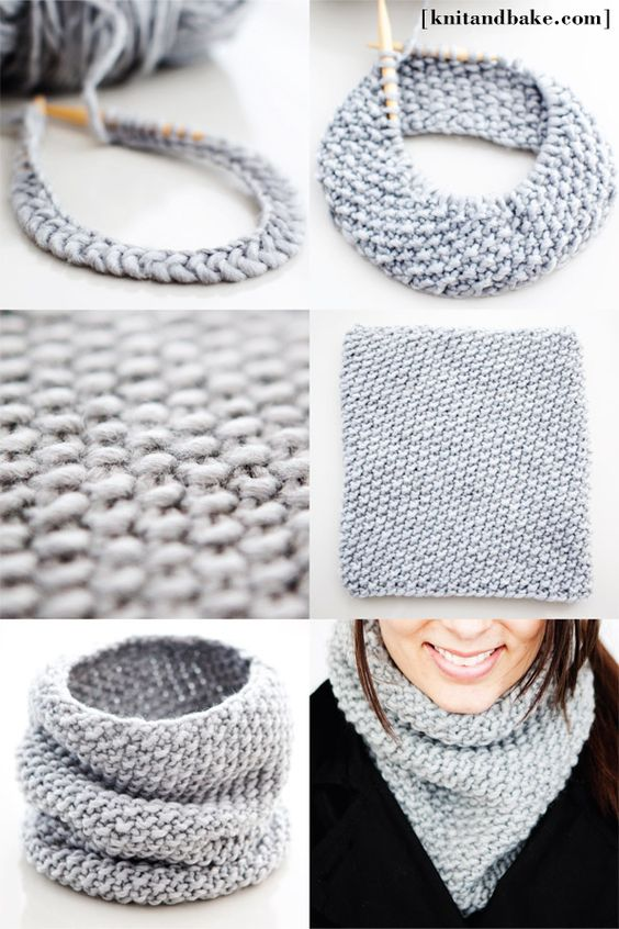 Simple Knit Cowl Pattern : Free knitting pattern for a super simple, easy to knit seed stitch cowl. It u...