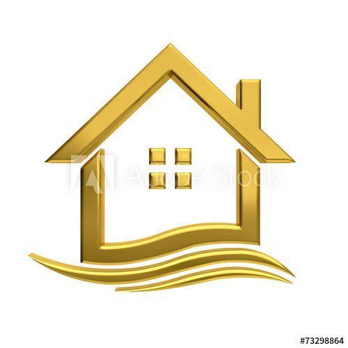 Golden House Wave Real Estate Image Home Logo House Logo Real Estate Roof Logo Builder Lo Internet Marketing Strategy Online Marketing Marketing Strategy
