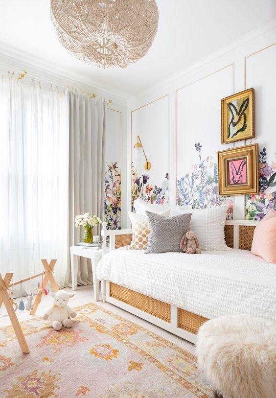 Girls Nursery, Girls Bedroom Design, Floral Pink Bedroom Nursery. Wall panel inspiration. Bohemian girls room. Floral little girls bedroom. Caned bed. Day bed. Rebel Walls. Hunt Slonem. Oushak Rug.