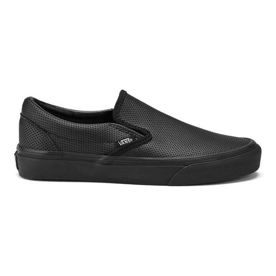 Vans Women's Classic Slip-On Perforated Leather Trainers (340 MYR) ❤ liked on Polyvore featuring shoes, sneakers, black, vans shoes, vans sneakers, slip on skate shoes, black sneakers and black skate shoes