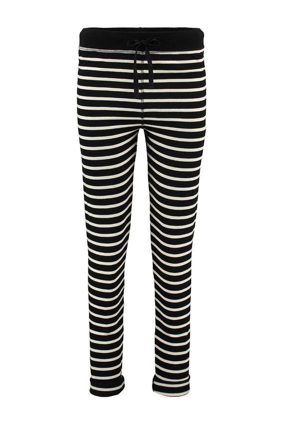 Ganni T1356 Broek T1356 Old Spice Jersey zwart/creme - Bloom Fashion