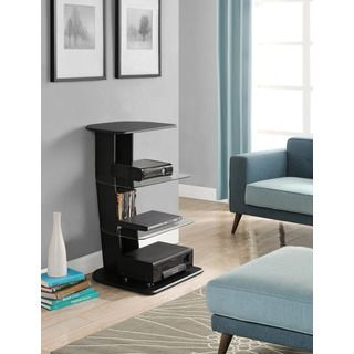 Galaxy Black Audio Pier with Glass Shelves | Overstock™ Shopping - Great Deals on Altra Media/Bookshelves