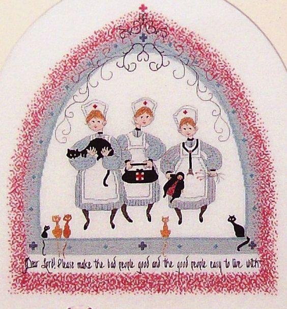 0 point de croix 3 infirmières - cross stitch  Buckley Moss Nurses Three griggs designs
