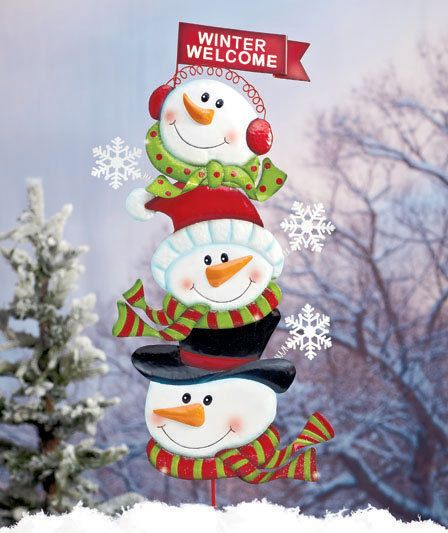 3 stacked snowmen winter metal holiday yard stake outdoor christmas decor new gardens welcome. Black Bedroom Furniture Sets. Home Design Ideas