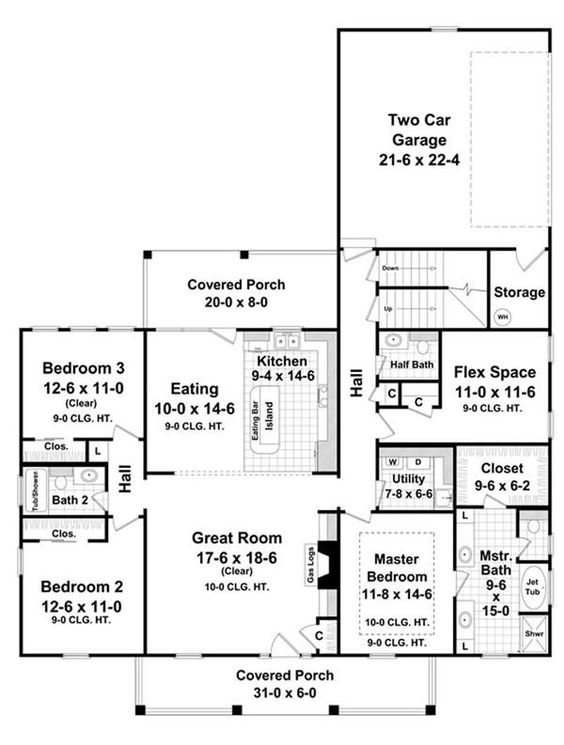 Traditional Country Farmhouse House Plans 1900 Sq Ft