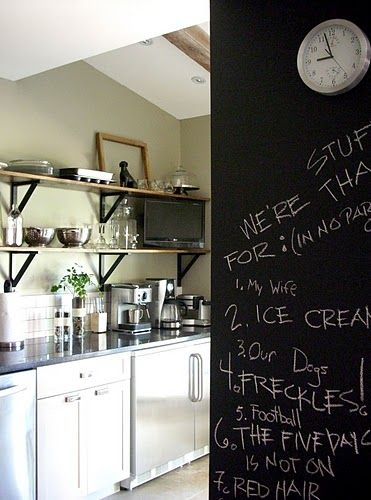 chalkboard wall in the kitchen - brings back memories of writing our shopping list on the chalkboard in the kitchen