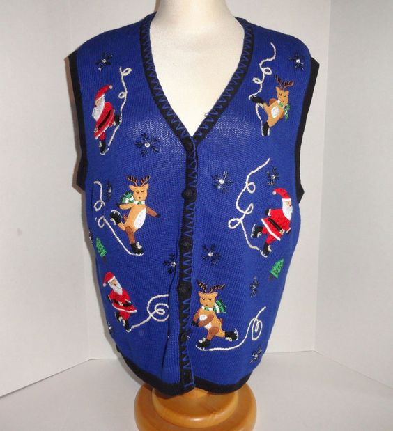 Are you planning that Ugly Christmas Sweater party this year??  Here's one for you.... Bobbie Brooks Womens Ugly Christmas Sweater Vest Plus Size 26W 28W, Royal Blue Black featuring Santa Claus and reindeer. #womensclothing #fashion