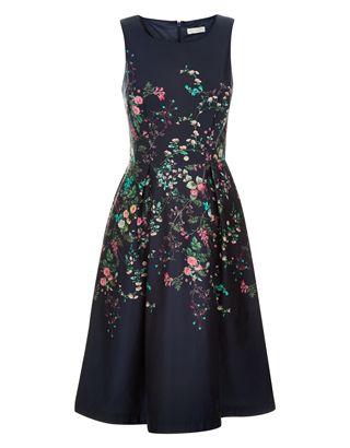 Flora Print Placement Dress | Navy | Monsoon