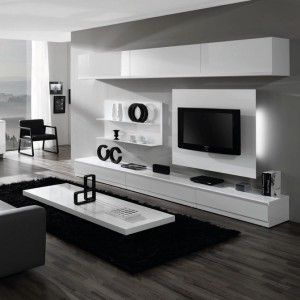 meuble salon mural laqu blanc achat vente meubles salon. Black Bedroom Furniture Sets. Home Design Ideas