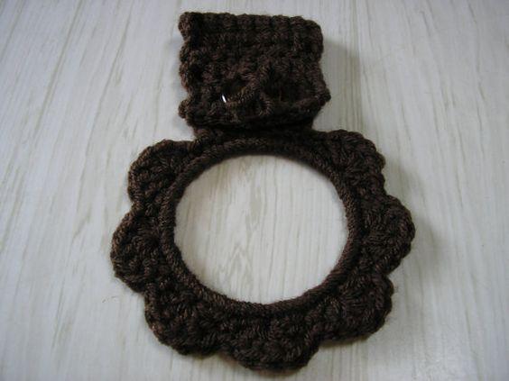Hand Towel Holder - Crocheted Ring in Dark Brown - Hang from fridge, stove or cupboard door handles.