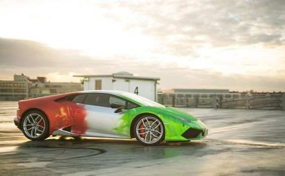 Lamborghini Huracan wrapped in TRICOLOR flames CHROM DESIGN with brushed surface by PRINT TECH http://goo.gl/YPGqTF