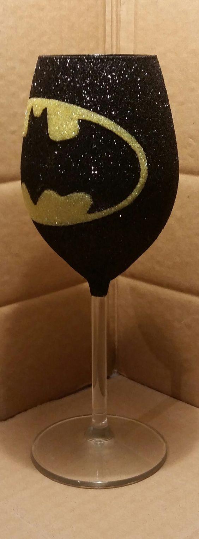 Glittery Batman Wine Glass by Glittasticglasses on Etsy