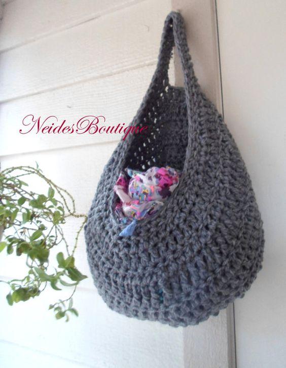 Large Gray crochet bag, Laundry bag, Vegetable Bag, Kitchen storage, Yarn basket, clothing basket, hanging storage, toys storage, home decor