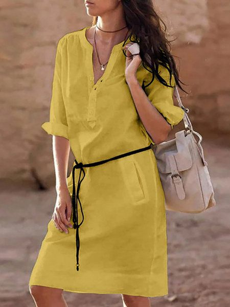 Women Yellow Shift Basic Half Sleeve Pockets Solid Mini Dress