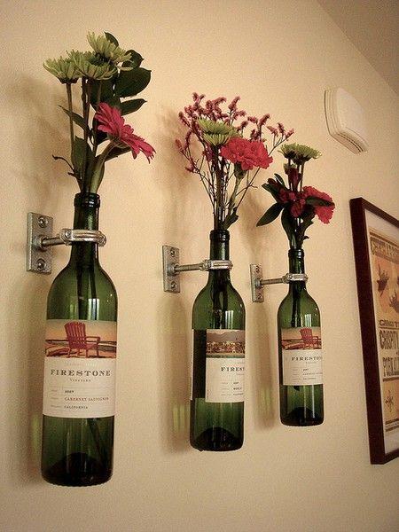 Upcycled wine bottles--for my bathroom! I need to start saving my wine bottles!