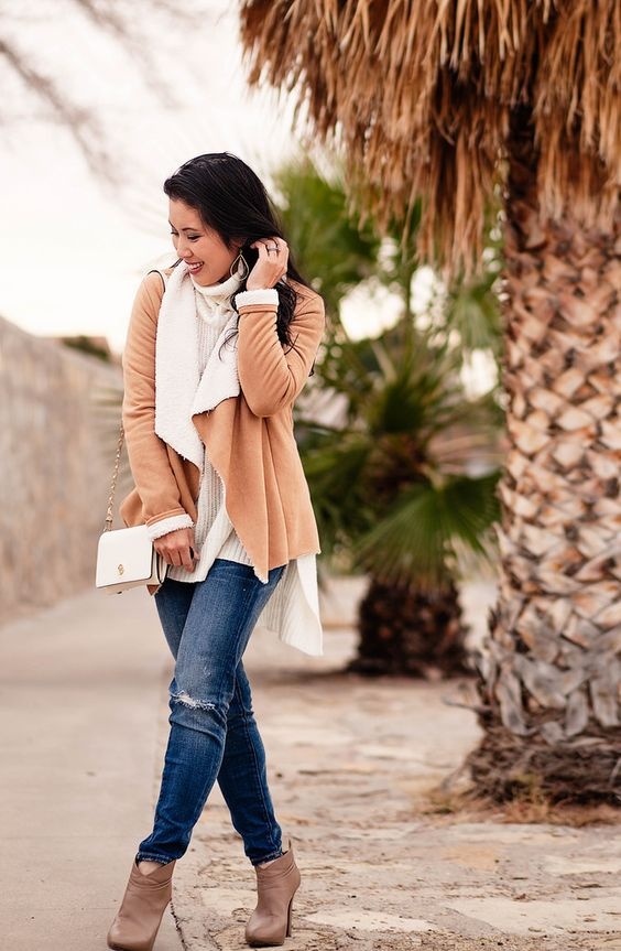 cute & little blog   petite fashion   suede shearling waterfall jacket, white turtleneck sweater, distressed jeans   neutral fall outfit
