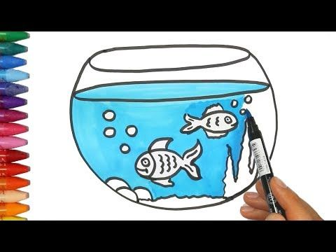 How To Draw Fish Drawing Coloring Fish Learn To Painting For Kids Youtube Fish Tank Drawing Easy Drawings For Kids Easy Drawings
