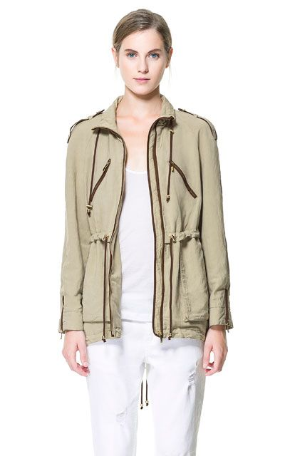 FLOWING SAFARI JACKET WITH PIPING - Blazers - Woman | ZARA United States
