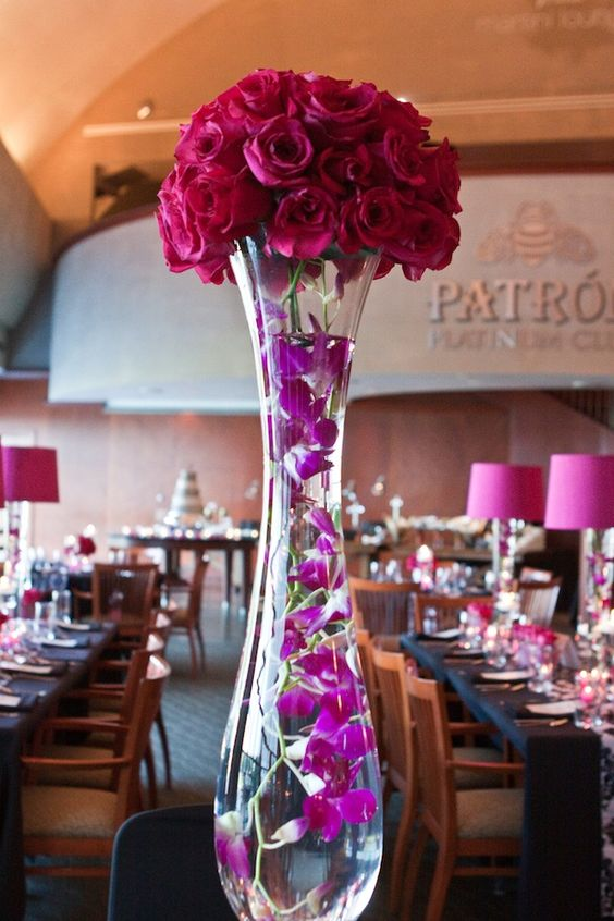 Pink black damask reception wedding flowers decor
