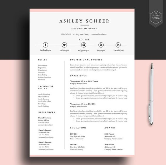 Professional Resume Templates Free: Professional Resume Template, Resume Template For Word, Cv