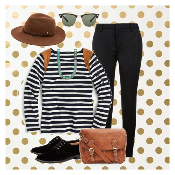 """""""Untitled #25"""" by m2415m on Polyvore featuring Kate Spade, Yves Saint Laurent, J.Crew, Ray-Ban, Helen Kaminski, Lucky Brand and Robert Clergerie"""