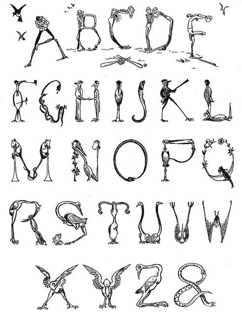 Alphabet capital letters from antique children's book, Our Brownies.