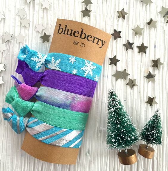 Christmas Gifts, Stocking Stuffers, Gifts Under 15 dollars - Hair Ties - Snowflake Set of Hair Ties - Turquoise, Frozen, Elsa, Lucite, Mint by BlueberryHairTies on Etsy