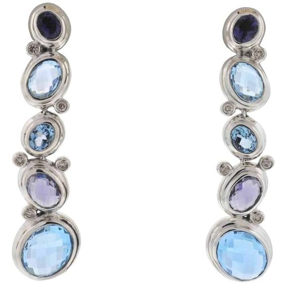 Pre-owned David Yurman Sterling Silver Blue Topaz And Amethyst Dangle... ($849) ❤ liked on Polyvore featuring jewelry, earrings, accessories, silver, pre owned jewelry, dangle earrings, preowned jewelry, sterling silver jewelry and david yurman