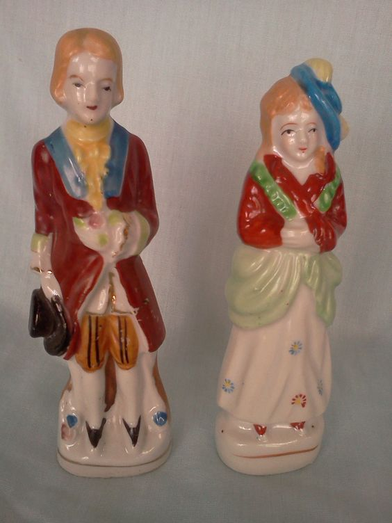 Ceramic Colonial Figures, Made in Japan, $6