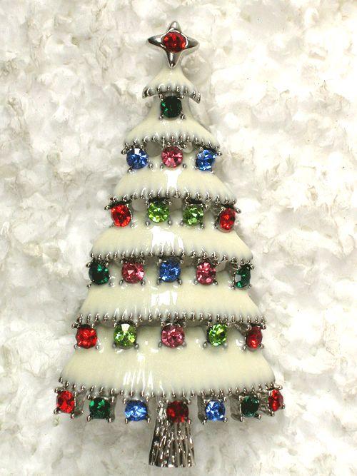 Multi Colors Rhinestone Crystal Christmas Tree Pin Brooch: