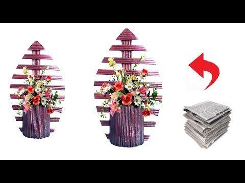 Newspaper Flower Vase Wall Hanging Newspaper Craft Idea Youtube Newspaper Flowers Newspaper Crafts Diy Paper Flower Wall