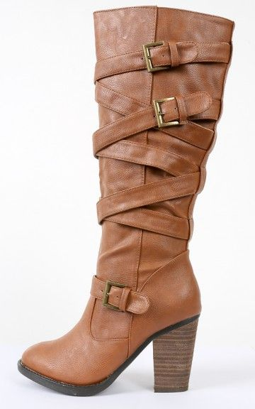 Dollhouse Mentor Strappy Buckle Chunky Boots